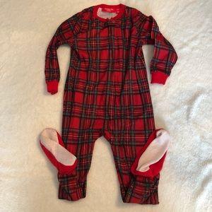 Plaid Christmas footie pajamas!